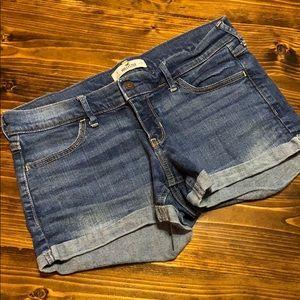 Hollister dark wash short denim shorts